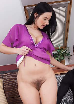 Hairy cutie Enza has hot sex on a couch